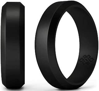 Black Bevel Ring for Men and Women 8mm Size 9