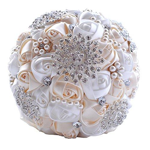 Zinsale Seta Lusso Shinny Fatto a Mano Strass Nuziale Bouquet da Sposa Diamante Tenendo Il Fiore (Crema + Bianco)