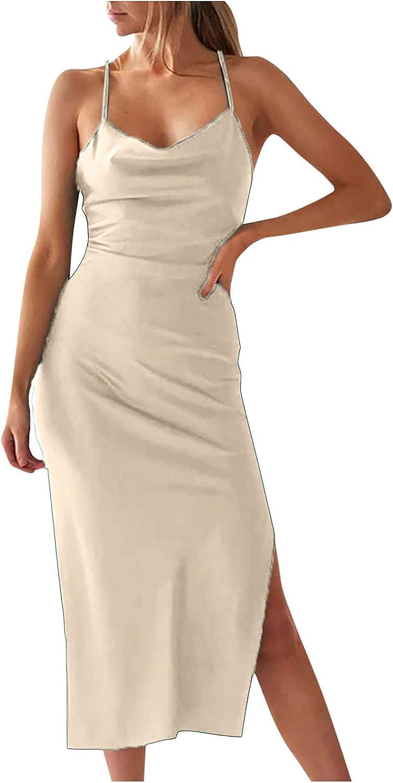lcziwo Spaghetti Strap Bodycon Midi Dress for Women Sleeveless Solid Sleepwear Slim Fit Party Club Tank Dress