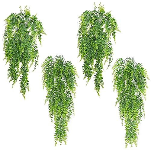 Plantas Artificiales Decorativas Sonwaha 4PCS Planta Colgante Artificial Plantas Artificiales Decorativas para Interior Y Exterior, Balcón, Decoración de Boda O Jardín(85cm)