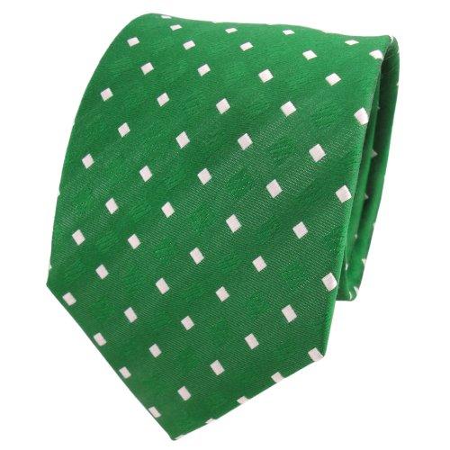 TigerTie diseñador corbata de seda - verde verde esmeralda blanco lunares