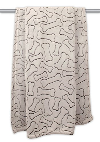 Bone Dry Embossed Bone Print Pet Blanket, Taupe