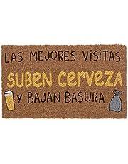 Felpudo 40X70 ANTIDES. con la Frase Las Mejores VISITAS SUBER Cerveza Y Bajan Basura