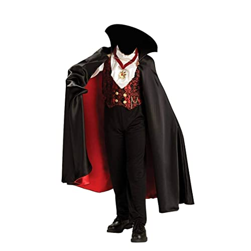 """spooky horror halloween red cape adult 45/"""" devils  deluxe with stand up collar"""