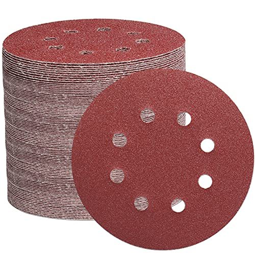 105 PCS Discos de lijado, papel de lija de gancho y bucle para lijadoras orbitales aleatorias-40/60/100/150/240/320/600 Granos mixtos Almohadillas de discos de lijado de 8 agujeros (125 mm)