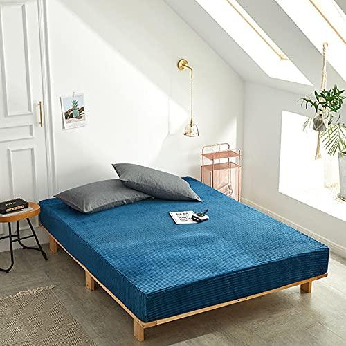 HAIBA Sábanas bajeras lisas térmicas cálidas y suaves de lujo con cuatro esquinas con cinturón elástico para colchón, azul, 48 x 74 cm