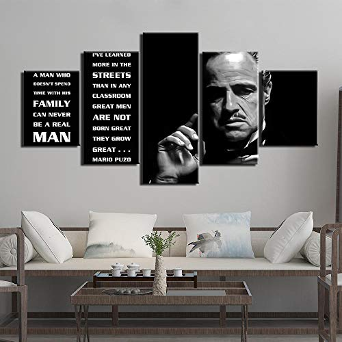 SINGLEAART Leinwanddrucke,5 Teilige Leinwand,5 Stück Wandbild,Wohnzimmer Dekoration,Modular Wandkunst,Brettmalerei,Geburtstagsgeschenk,Der Pate Marlon Brando,150Cm×80Cm,Mit Rahmen