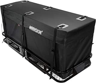 MARKSIGN 100% Waterproof Hitch Carrier Cargo Bag 59'' x 24'' x 24'' (20 Cu Ft), Waterproof Zipper and Rain Flap, 6 Lashing Straps with Cam Buckles