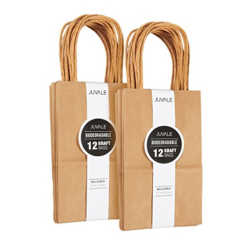 Juvale Small Kraft Paper Gift Bags with Handles (Brown, 8.5 x 5.25 Inches, 24 Count)