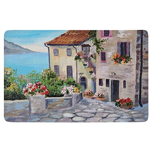 Rustic Area Rug,Old Houses in a Small Town Sea and Flower Pots at Windows Oil Painting Style,for Living Room Bedroom Dining Room,5'x 3',Beige Light Blue