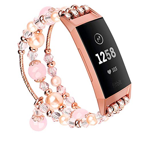 V-MORO Pink Band Compatible with Fitbit Charge 3/3 SE Bands Rose Gold Women Fashion Handmade Jewelry Bracelet Elastic Stretchy Faux Pearl Bead Wristband Replacement for Fitbit Charge 3/3 SE Smartwatch