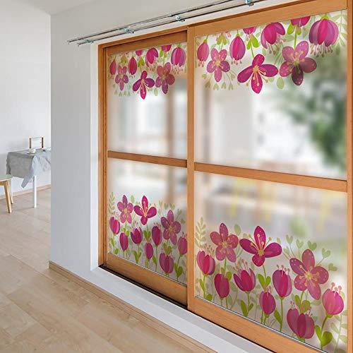 Pallima Fensterfolie Glasaufkleber Frosted Opaque Privacy Print Frühlingsblumen Glass Sticker Fensteraufkleber Türfolie 45x100cm