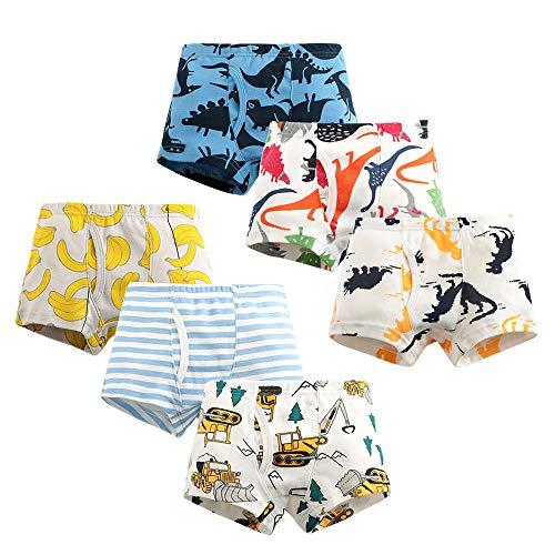 Calzoncillos Tipo Bóxer para Niños de Algodón, Morbuy Ropa Interior Boxer Slips Transpirables Suaves Ropa Interior para Niño 2 a 12 años, Pack de 6 (B,140/9-10 años)