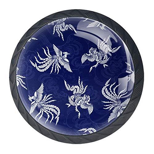 Perillas de cajón orientales Phoenix en azul, 4 unidades de