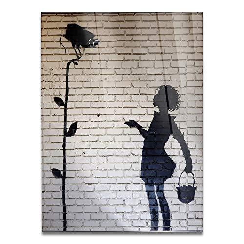 Giallobus - Schilderij - Klaar om op te hangen - Afdrukken op Acrylglas Plexiglas - Banksy - Camerameisje - moderne schilderijen home design meubels - slaapkamer - diverse maten XXL - 70x100 cm