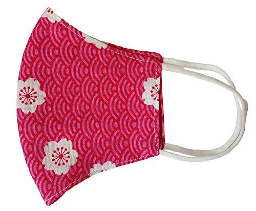 Torelle Nasen Mundschutz Maske Kinder 100% Bio Baumwolle (2-lagig) waschbar, handgenäht in Deutschland, Gesichtsmaske, Stoffmaske, Mundbedeckung, Maske für Kinder (one Size, rosa Blumen)