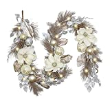 Valery Madelyn Pre-Lit 6 Feet Elegant Champagne Gold Christmas Garland with 20 LED Lights and Ball Ornaments for Front Door Window Fireplace Mantle Xmas Decor, Battery Operated