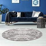 carpet city Teppich Wohnzimmer - Ornamente 160 cm Rund Grau Meliert - Moderne Teppiche Kurzflor