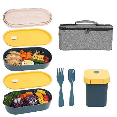 KQGO Bento Box Adult Lunch Box All In One Bento Lunch Boxes for kidsBentgo Boxes with Sauce Soup Cup Durable Leak proof Eco FriendlyMicro-WaveFreezer SafeBlue