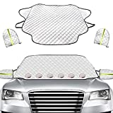 Golufomi Windshield Cover for Ice and Snow, Car Winter Frost Cover with Mirror Cover and Magnetic Edge, Protect in All Weather Fits Cars, SUV and Truck