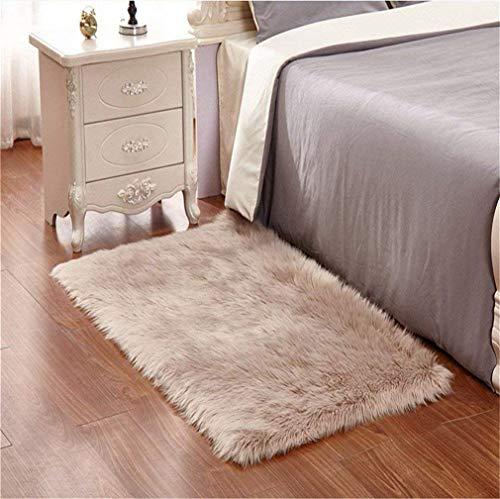 Faux pelliccia di agnello di pecora tappeto,Pelliccia sintetica Tappeto vello di pecora - bel colore molto caldo, Ottima Qualità (marrone, 60_x_90_cm)