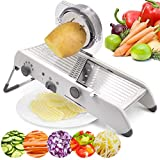 Adjustable Mandoline Slicer Stainless Steel Multifunctional Manual Cutter Vegetable Grater Julienne Slicer Fruit Waffle Kitchen Onion Potato Cutter (White)