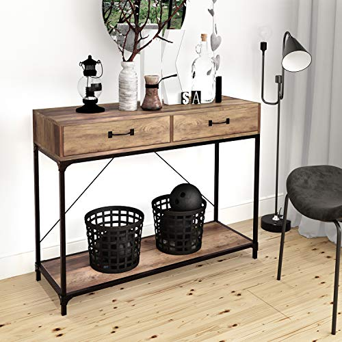 Joolihome Console Table, 2 Drawers with Handles and Storage Shelf Side Table for Home and Office, Wooden End Table with Black Metal Frame for Hallway, Living Room, Bedroom, Entryway, Kitchen