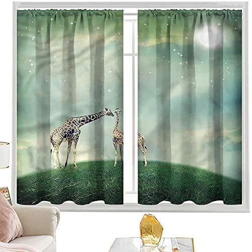 cortinas térmicas Jirafa, Cuento de hadas atmósfera W52 x L84 pulgadas cutainsforlivingroom