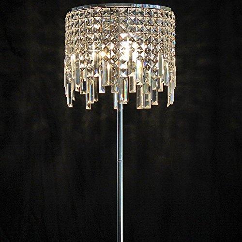 miwaimao Lámparas de pie de hierro forjado K9 cristal 33 * 150 cm estilo europeo moderno dormitorio noche salón lámpara de pie
