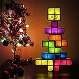 Decoración de muebles Lámparas de mesita de noche Tetris Luz de noche apilable Lámpara de mesa de escritorio LED apilable 3D DIY Bloques mágicos Rompecabezas Bloque de construcción de juguete para