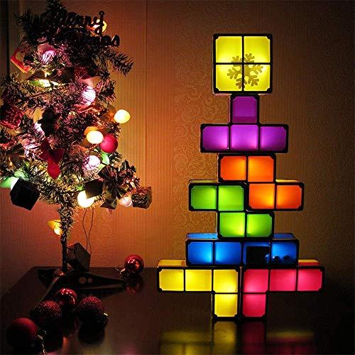 Inicio Equipo Lámpara de mesa Tetris Luz de noche apilable Lámpara de mesa de escritorio LED apilable 3D DIY Bloques mágicos Rompecabezas Bloque de construcción de juguete para niños Lámparas de es