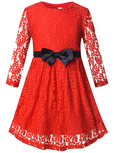 Bonny Billy Girls Long Sleeve Midi Lace Christmas Dress with Bow Sash 10-11 Years Red