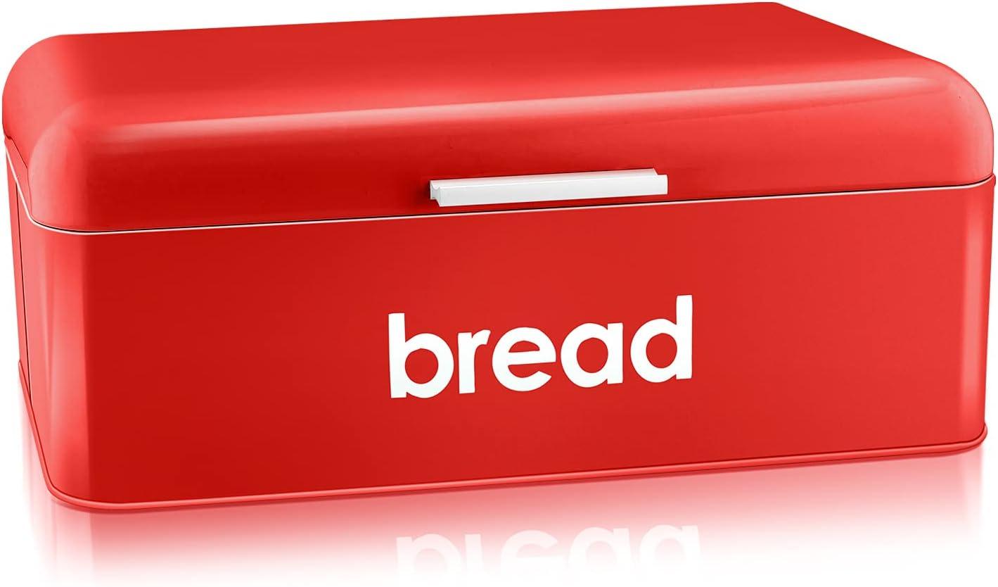 Vintage Bread Box for Finally resale start Kitchen Superior Countertop E-far Metal Red