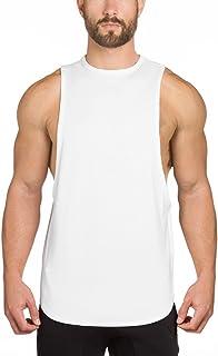 EU(イーユートレーニングタンクトップ 袖なし ジム用 シャツ スポーツ T-シャツ ホワイトL
