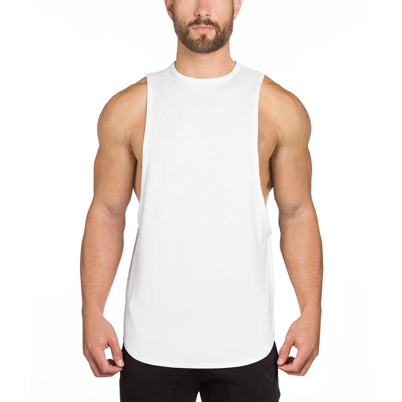 EU(イーユートレーニングタンクトップ 袖なし ジム用 シャツ スポーツ T-シャツ ホワイト M