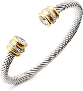 Birthstone Bangle Cable Wire Twisted Bangles Designer...