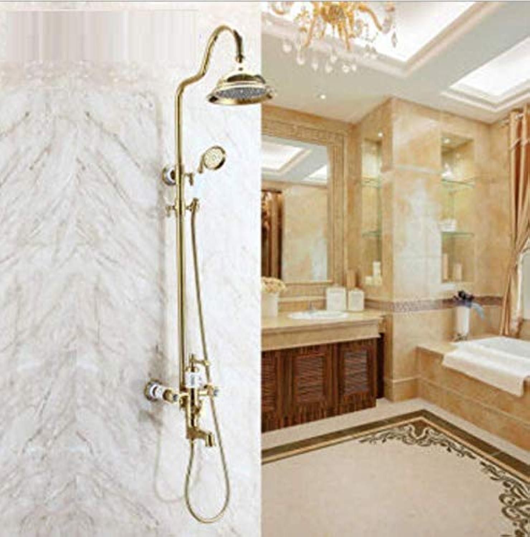ZH Luxus Neue Antike Messing Regendusche Wasserhahn Set + Einhebelmischer + Handbrause Wand Montiert