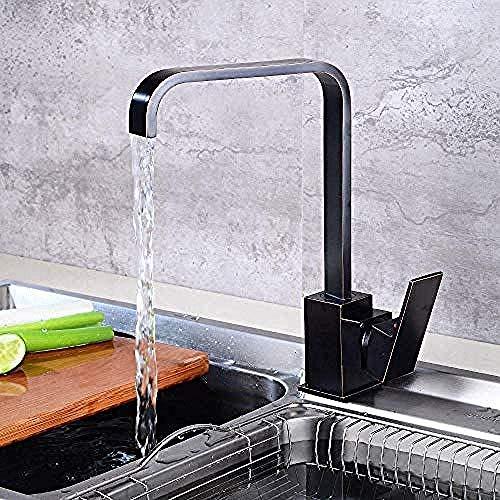Faucet Copper Black Kitchen Faucet kraan voor warme en koude vaatwasser, 360 rotatie