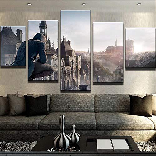 Assassins Creed Game Hd Print Malerei 5 Stücke Home Die Wandkunst Gemälde Auf Leinwand Wandkunst Wohnzimmer Modernes Dekor Kunstwerk(With Frame size)