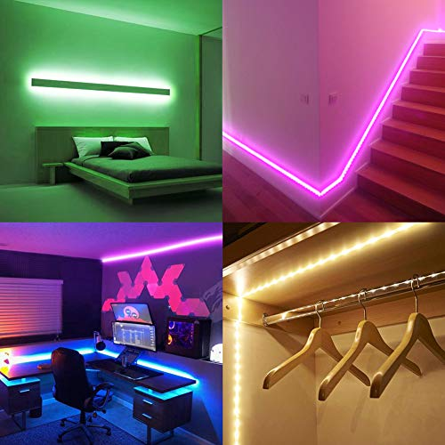 Led Strip Lights Waterproof 16.4ft 5m Flexible Color Changing RGB SMD 5050 150leds LED Strip Light Kit with 44 Keys IR Remote Controller and 12V Power Supply