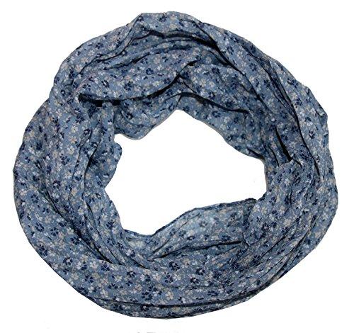 ACC Blumen Damen Loop Schal aus Seide & Baumwolle/Seidenschal (Blümchen blau)