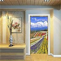 3Dドア壁壁画壁紙 美しい風景3Dドアステッカー壁画ポスター粘着防水壁紙