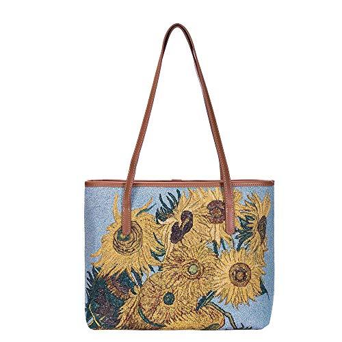 Signare Tote bag da donna con tracolla per scuola e college/Vincent van Gogh - Girasoli (COLL-ART-VG-SUNF)