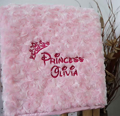 Personalised Baby Blanket Luxury Rosebud Style Pink Disney Princess Name...
