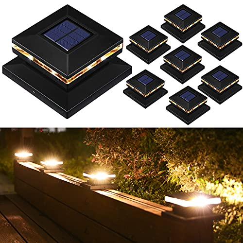 Solar Post Lights Outdoor, Waterproof Post Solar Lights for Fence Deck Pathway Patio or Garden Decoration, Warm White Post Lamp Fits 4x4 6x6 Wooden Posts (8 Pack)