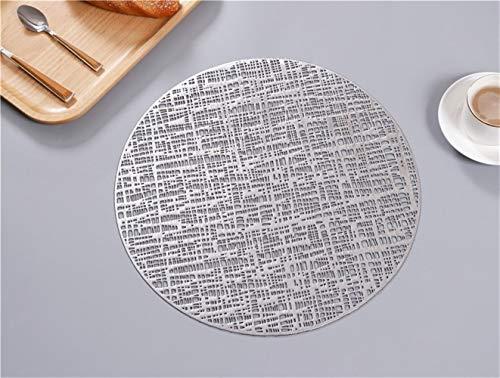 Qinqin666 Ronda manteles Individuales y Posavasos Conjuntos, Ronda de PVC manteles de Navidad, Bodas, Fiestas de Cena, Restaurante, Hotel (Series de 8) Hogar, Hotel, Restaurante. (Color : Silver)