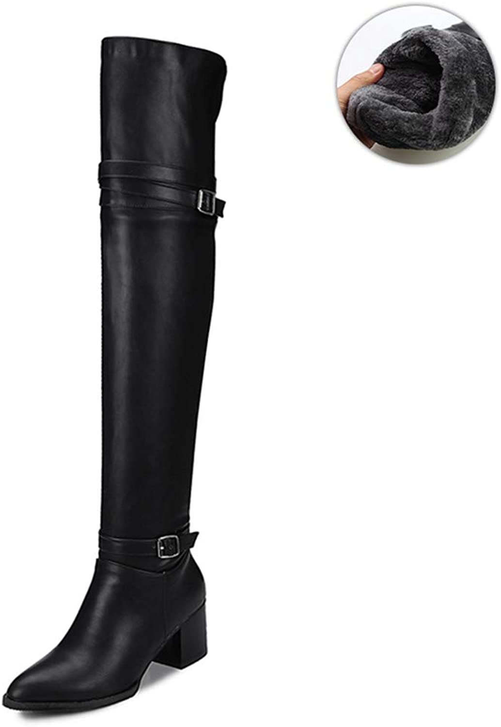 Female Over The Knee Boots Slip on Women's Thigh High Boot Buckle Strap Thick Heels shoes Woman Boots