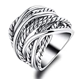 Mytys Silver Plated Intertwined Design Wrapped Wire Fashion Band Ring for Women Men 20mm Wide (7)