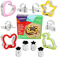 Sandwich Cutter for Kids - Best Stainless Steel Sandwich Cutter Set - 4 Bread Cutters Shapes for Kids Suitable for Cakes and Cookie - Bonus 4 Vegetable Cutters Shapes