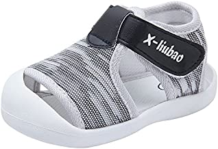 Baby Summer Sandals Breathable Mesh Rubber Sole Non-slip Outdoor Shoes for Boys and Girls 9-30 Months (Grey,15-18months)